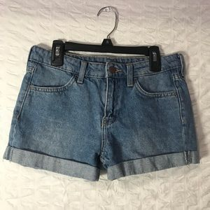 Mid waist-high waist jean shorts